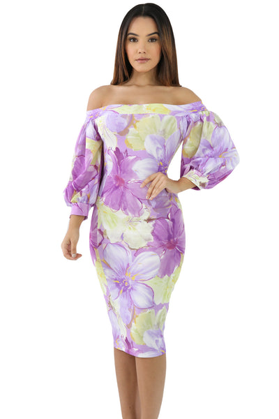 Her Elegant Lilac Floral Pattern Off Shoulder Boho Midi Dress