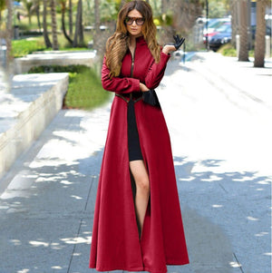 Her Elegant Look Long Hem Stand-UP Collar Woolen Trench Coats Design