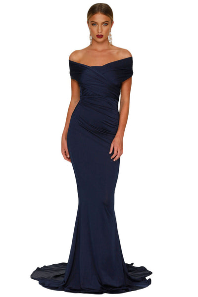 f8266c924ab Her Elegant Navy Blue Off-shoulder Mermaid Wedding Chic Party Gown ...