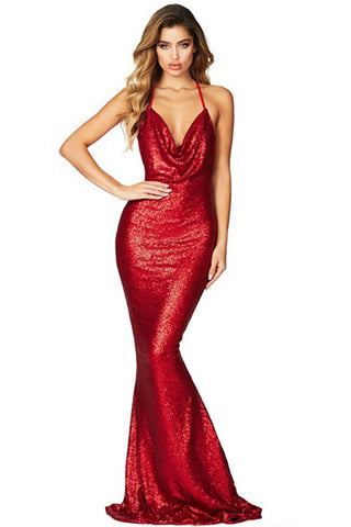 Her Elegant Red Daring Bare Back Sequined Mermaid Maxi Gown Dress