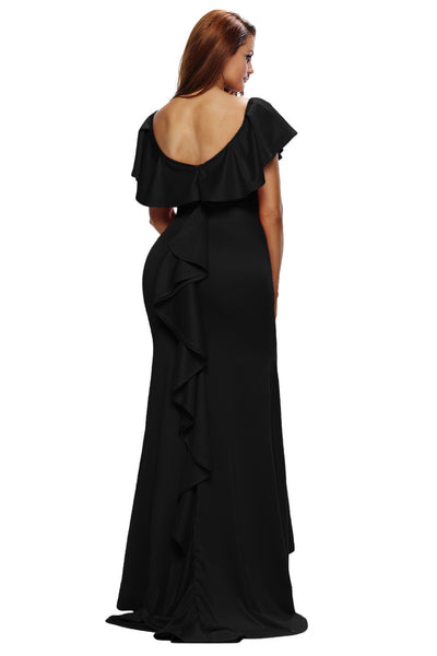 Her Elegant Ruffle Accent Gorgeous Hot Black Luxurious Party Gown