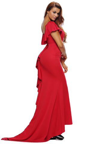 Her Elegant Ruffle Accent Gorgeous Hot Red Luxurious Party Gown