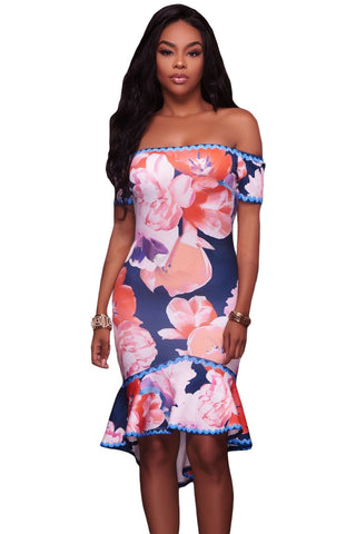 Her Elegant Samba Navy Blue Floral Multi-color Flattering Print Dress