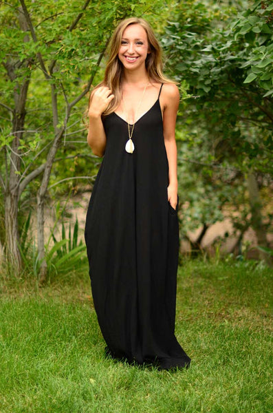 Her Essential Black Boho Pocketed Styling Maxi Dress ...
