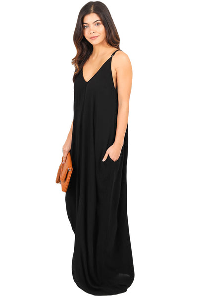 Her Essential Charcoal Boho Pocketed Styling Maxi Dress