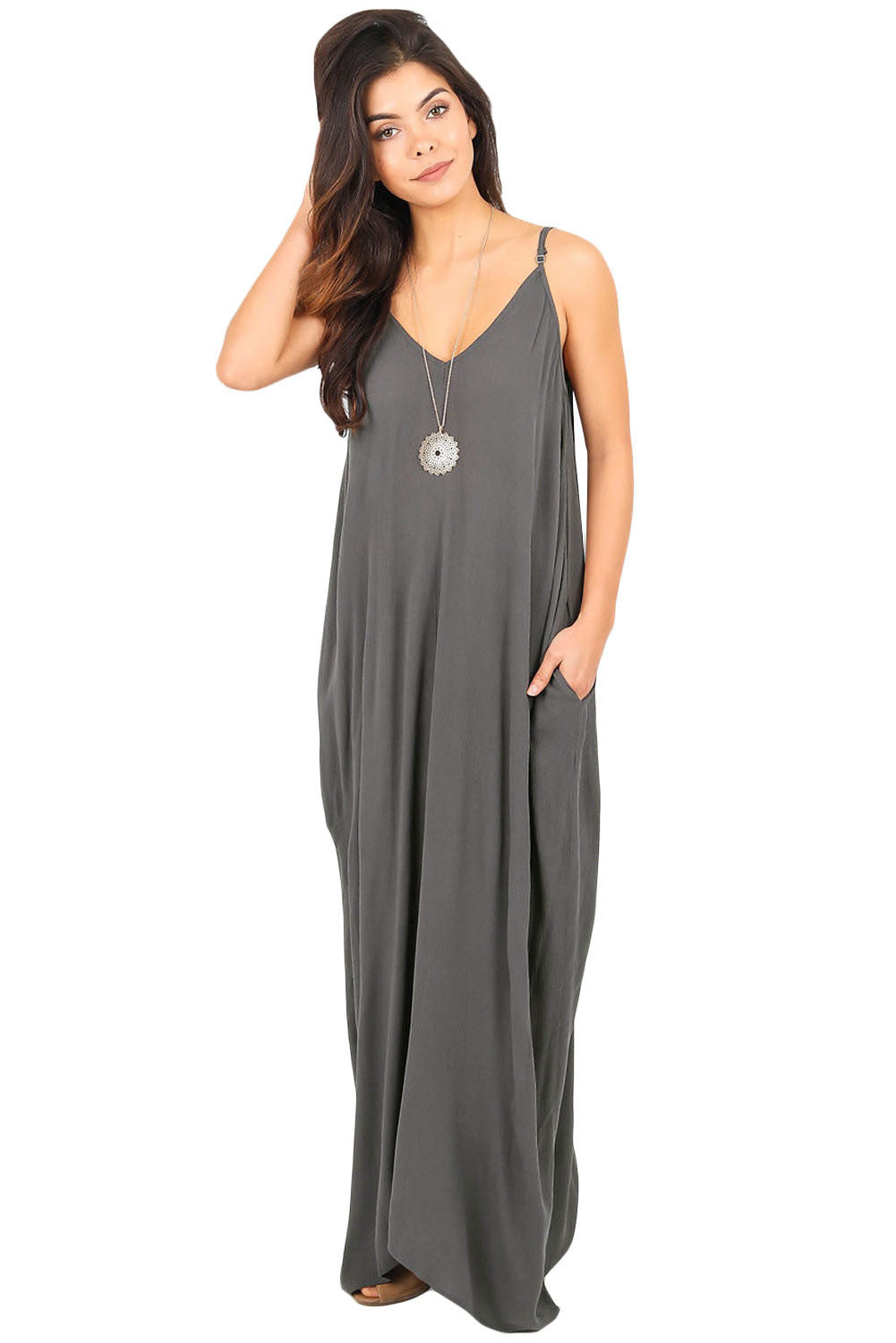 Her Essential Black Boho Pocketed Styling Maxi Dress