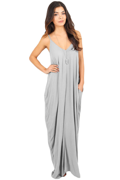 Her Essential Grey Boho Pocketed Styling Maxi Dress