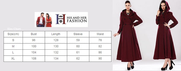 Her European Style Double-Breasted Fashion Hooded Long Sleeve Coat