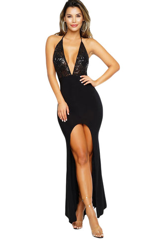 Her Evening Black Shimmery Lace Halter Front Slit Party Dress