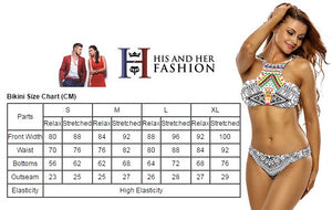 Her Exquisite Double Straps 2pcs Printed High Neck Swimsuit