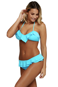 Her Eye-Catching Blue Chic Ruffle Detail 2pcs Halter Bikini Swimsuit