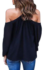 Her Fabulous Black Long Sleeve Pull Over Style Off Shoulder Halter Top