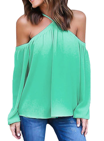 Her Fabulous Cyan Long Sleeve Pull Over Style Off Shoulder Halter Top