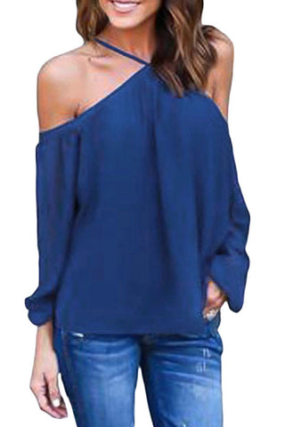 Her Fabulous Blue Long Sleeve Pull Over Style Off Shoulder Halter Top