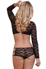 Her Fashion Alluring Look Black Lacy Caged Beauty Lingerie Set