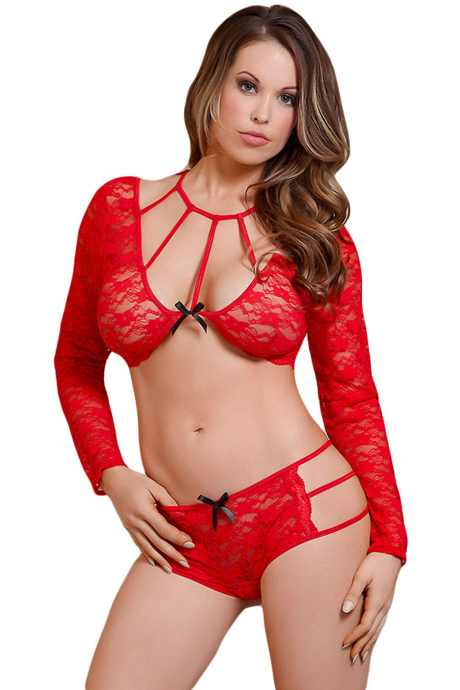 Her Fashion Alluring Look Red Lacy Caged Beauty Lingerie Set