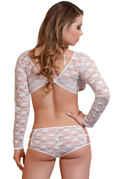Her Fashion Alluring Look White Lacy Caged Beauty Lingerie Set