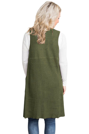 Her Fashion Army Green Chic Look Pocket Long Women Cardigan Vest