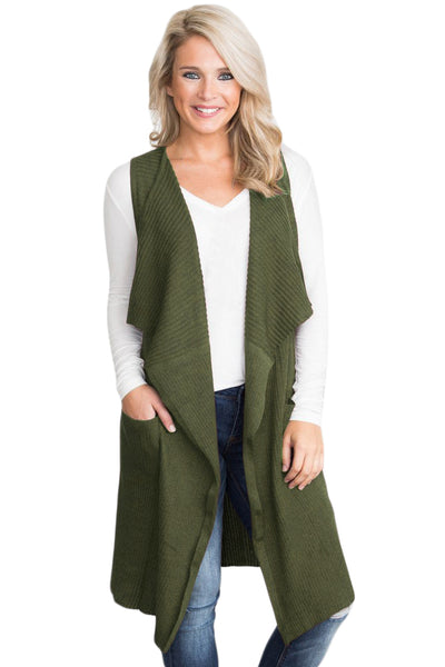 Her Fashion Coffee Chic Look Pocket Long Women Cardigan Vest