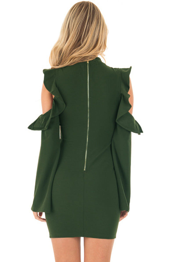 Her Fashion Army Green Cold Shoulder Ruffle Ultra Modern Bodycon Dress