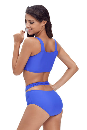 Her Fashion Beach Style Bright Blue Multiway Strap High Waist Bikini