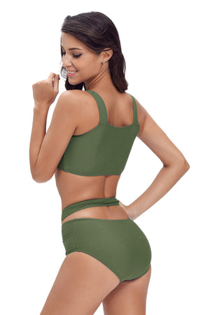 Her Fashion Beach Style Green Multiway Strap High Waist Bikini