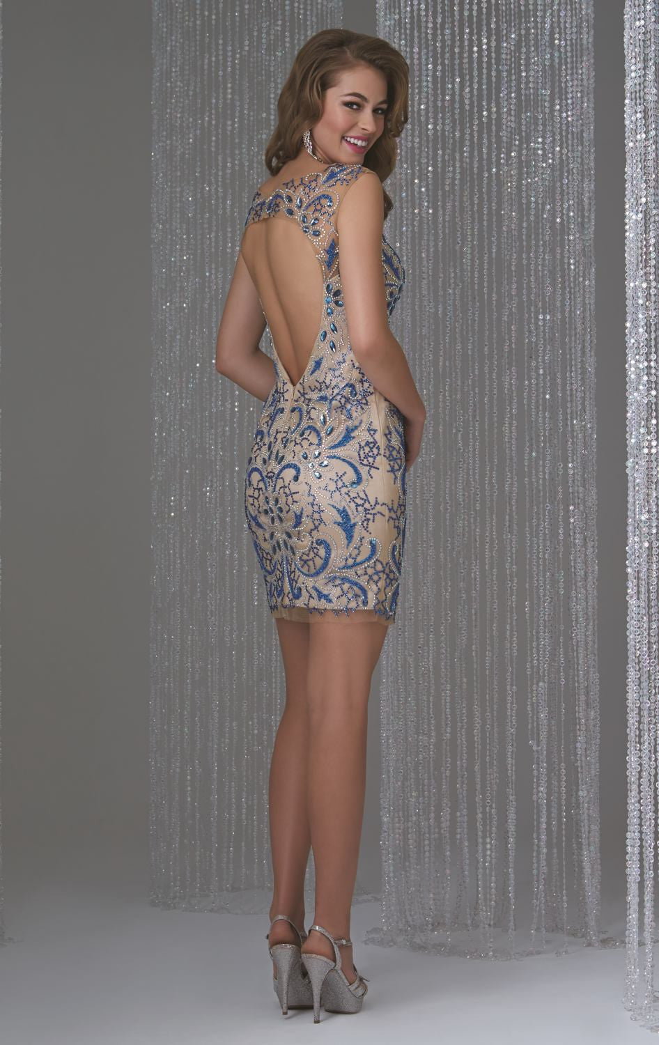 Her Fashion Beaded Embroidery Open Back Cocktail Dress