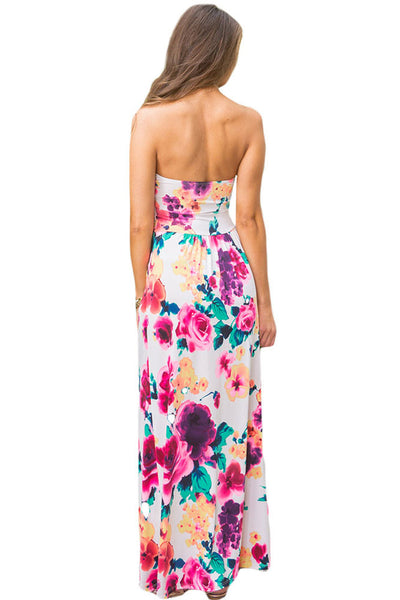 Her Fashion Contrast Tendril Print Pink Strapless Lovely Maxi Boho Dress