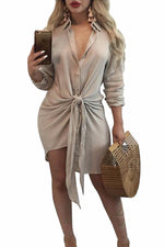 Her Fashion Army Green Knot Tie Accent Button Down Trendy Shirtdress