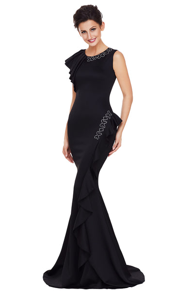 Her Fashion Black Asymmetric Pleats Trendy Long Prom Party Dress