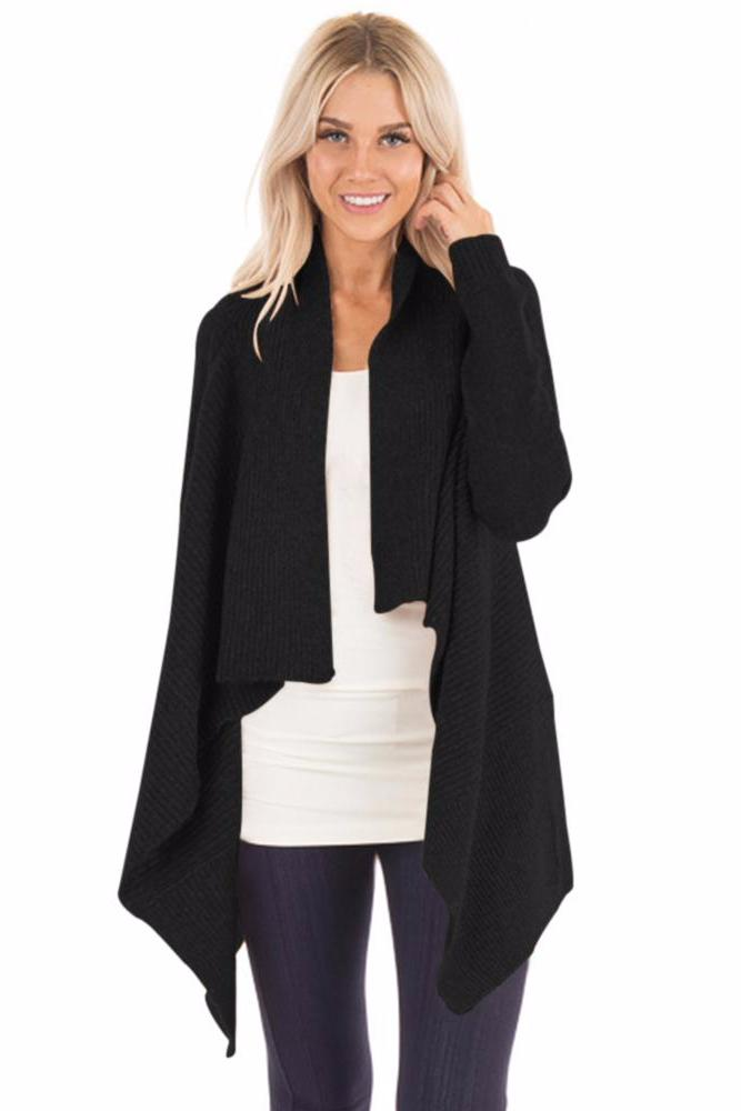 Her Fashion Black Chic Waterfall Long Sleeve Sweater Cardigan