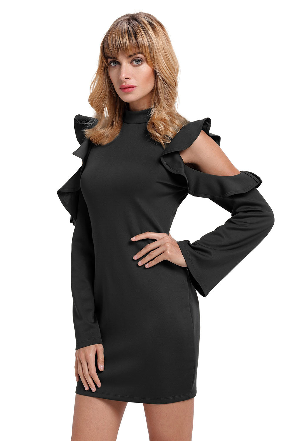 Her Fashion Black Cold Shoulder Ruffle Ultra Modern Bodycon Dress