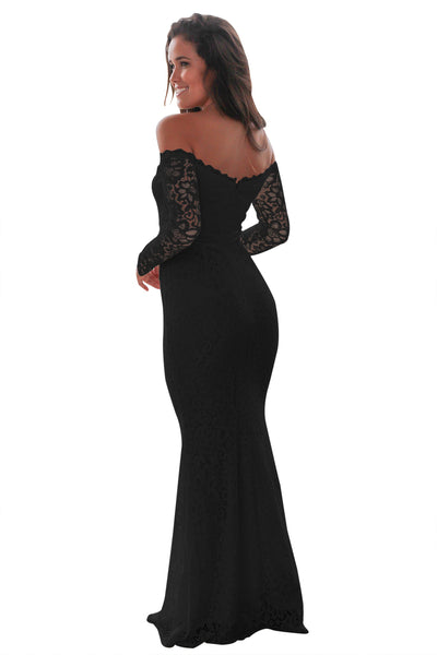 Her Fashion Black Crochet Off Shoulder Maxi Evening Party Dress