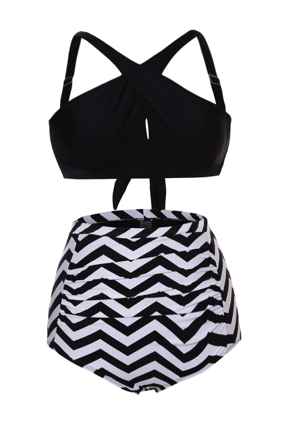 Her Fashion Black White Zigzag Cross Front Bikini High Waist Swimsuit