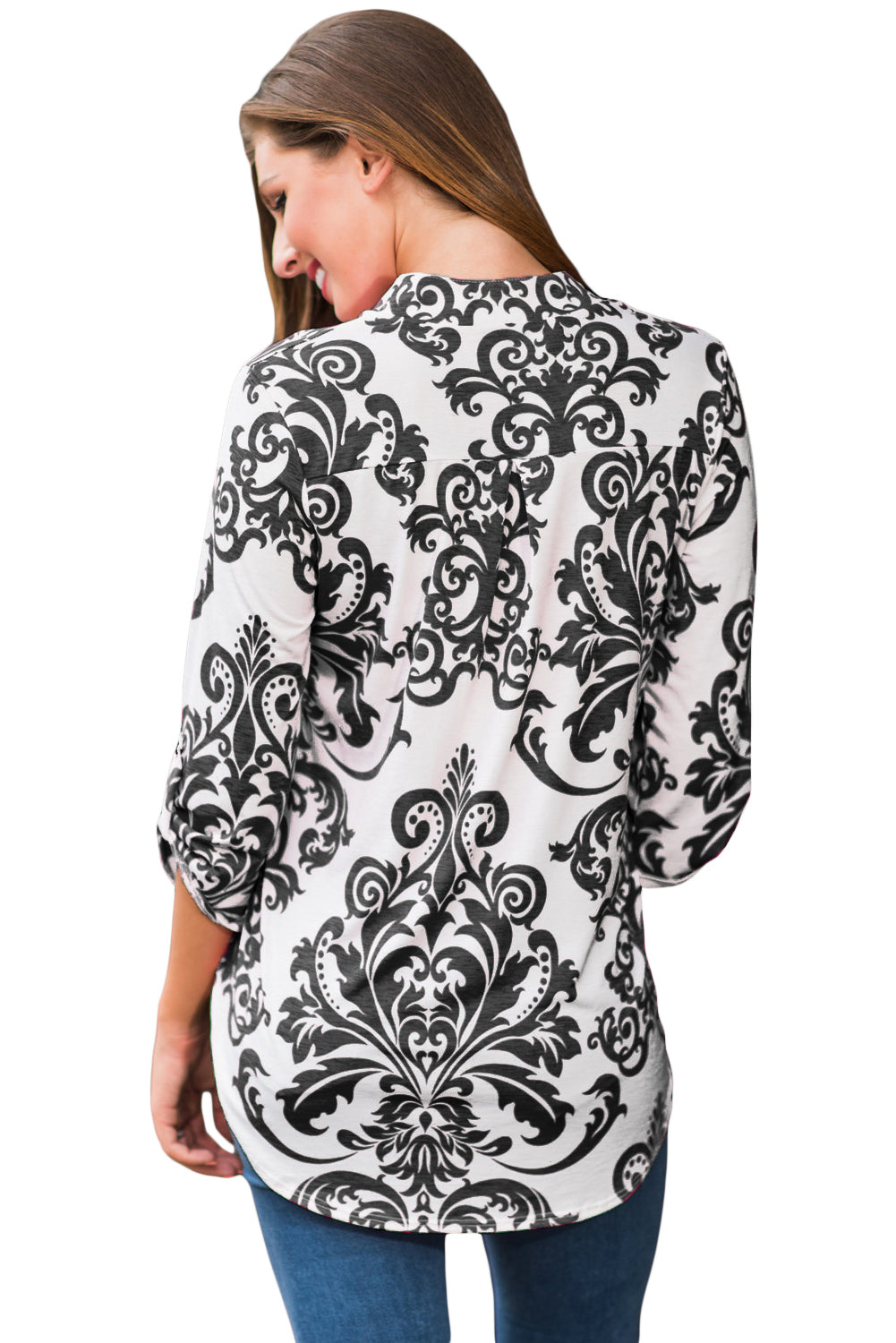 Her Fashion Black Damask Print Slight Collar Stylish V Neck Blouse
