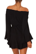 Her Fashion Black Flare Sleeve Drop Hem Pleated Off Shoulder Dress