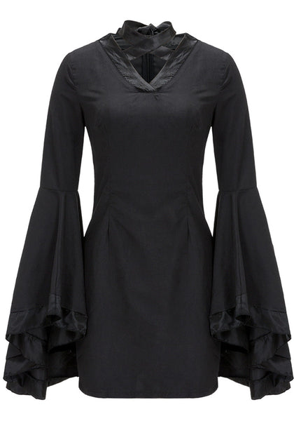 Her Fashion Black Flare Sleeves Trendy Mini Dress