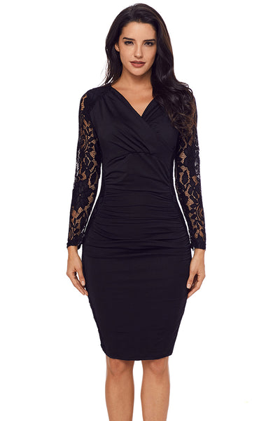 Her Fashion Royal Blue Floral Lace Panel Accent Ruched Sheath Dress