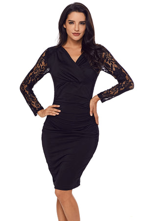 Her Fashion Black Floral Lace Panel Accent Ruched Sheath Dress