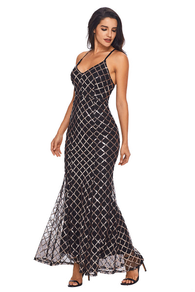 Her Fashion Black Gold Sequins Crisscross Chic Party Maxi Evening Dress