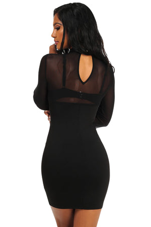 Her Fashion Black Grommet Crisscross Detail Sheer Long Sleeve Dress