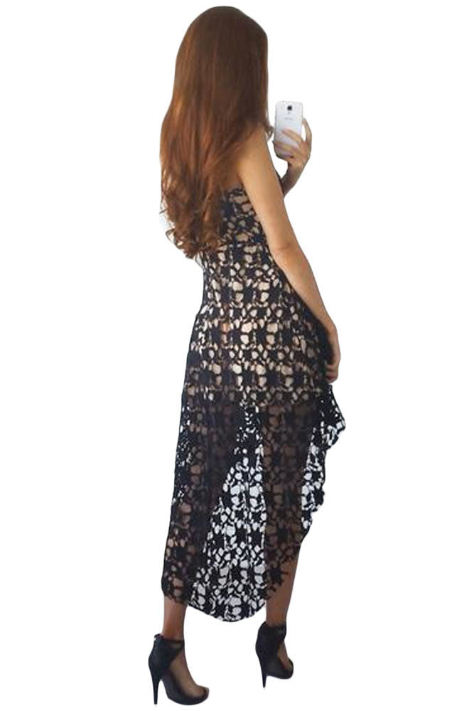 Her Fashion Black Hollow Lace Nude Illusion Hi-low Elegant Party Dress