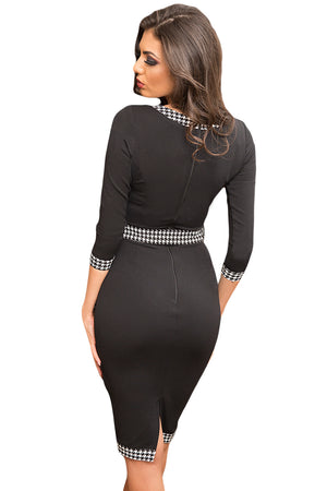 Her Fashion Black Houndstooth Detail Bodycon Midi Party Dress