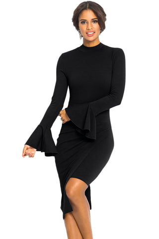 Her Fashion Black Keyhole Back Asymmetric Bodycon Trendy Midi Dress