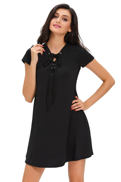 Her Fashion Black Lace-Up V-Neck Chic Style Swing Dress