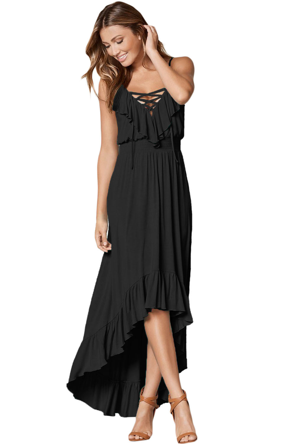Her Fashion Black Lace Up V Neck Ruffle Trim Timeless Maxi Dress
