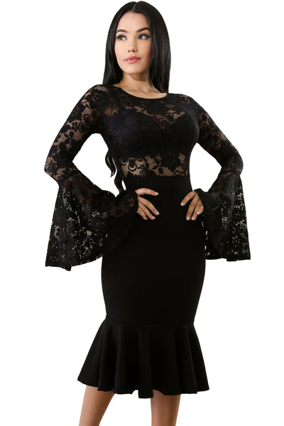 Her Fashion Black Lace Bell Mermaid Bodycon Trendy Party Dress 4e039f071