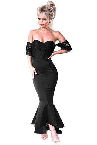 Her Fashion Black Lace Embellished Strapless Stunning Party Dress