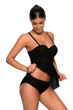 Her Fashion Black Lace Flattering Draped, Tankini Bathing Suit