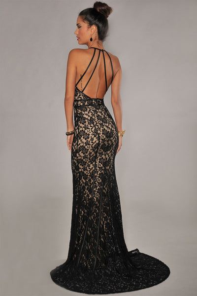 Her Fashion Black Lace Nude Illusion Open Back Evening Gown